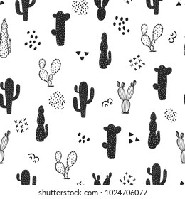 Seamless cactus pattern. Repeating hand drawn background. Black and white cacti print in the scandinavian style. Vector