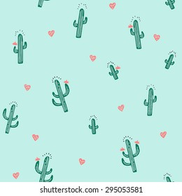Seamless Cactus Pattern in Vector
