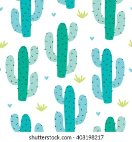 seamless cactus pattern vector illustration