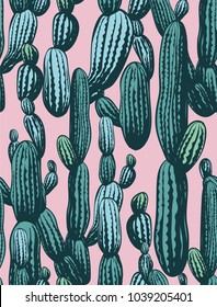 Seamless cactus pattern, vintage hand drawn illustrations with cactus