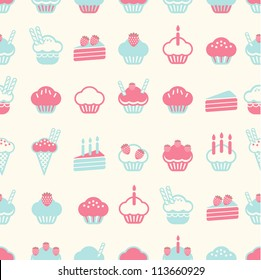 seamless cake pattern soft vintage color style. Vector illustration
