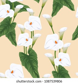 Seamless calla lilies flower background, elegant fashion colorful pattern with flowers Bright colors.