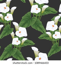 Seamless calla lilies flower background, elegant fashion colorful pattern with flowers Dark black colors.