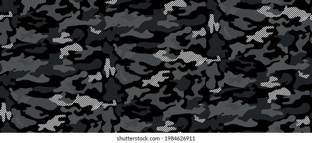 Seamless Camouflage abstract pattern, Military Camouflage repeat pattern design for Army background, printing clothes, fabrics, sport t-shirts jersey, web banners, posters, cards and wallpapers