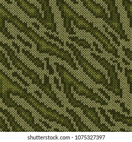 Seamless camouflage knitting background, vector pattern as a fabric texture in green hues