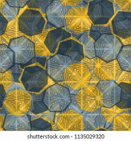 Seamless camouflage made up of translucent heptagons. Editable pattern. Above the picture is a texture composed of squares, which consist of curved lines.