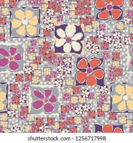 Seamless camouflage pattern. Abstract composition of square flowers located on the background of a scattering of round spots.