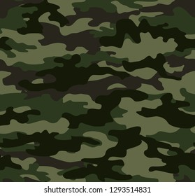 Seamless camouflage pattern classic green brown black abstract print spots vector