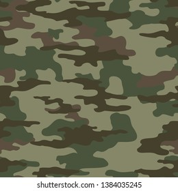 Seamless camouflage pattern classic green. Spots on green background. Print on fabric on paper. Vector