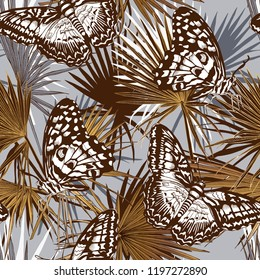 Seamless camouflage pattern. Different butterflies and gold exotic fan palm leaf. Textile composition, hand drawn style print. Vector illustration.