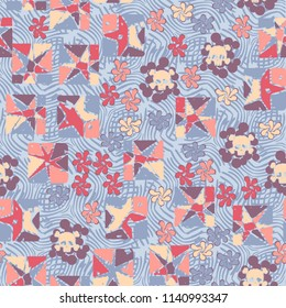 Seamless camouflage pattern made up of skulls, broken stars squares. The background of the picture is a texture consisting of curved lines that are regularly distributed.