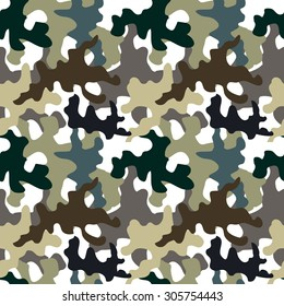 Seamless camouflage pattern. Military textile collection. Abstract vector background. Grey, green, brown on white. Backgrounds & textures shop.