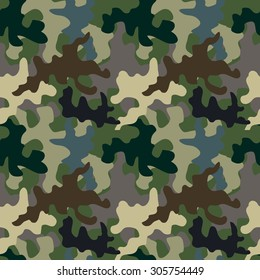 Seamless camouflage pattern. Military textile collection. Abstract vector background. Grey, green, brown on dark. Backgrounds & textures shop.