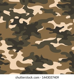 Seamless camouflage pattern is modern.Brown.Military.Hunting.Print on fabric on paper.Texture.Vector