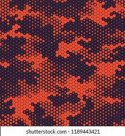 Seamless camouflage pattern. Repeating digital dotted camo military texture background. Abstract modern fabric textile ornament. Vector illustration.