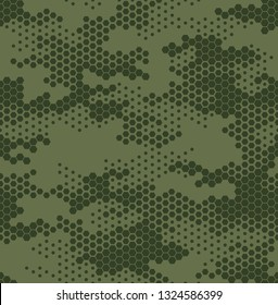 Seamless camouflage pattern. Repeating digital dotted hexagonal camo military texture background. Abstract modern fabric textile ornament. Vector illustration.