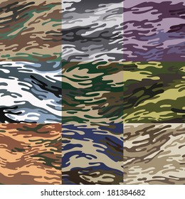 seamless camouflage pattern series set