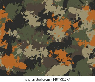 Seamless camouflage repeat vector pattern