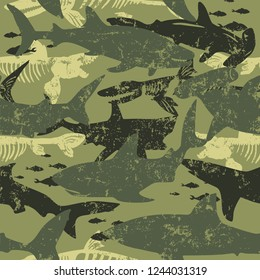 Seamless  camouflage shark pattern, print for T-shirts, textiles, wrapping paper, web. Original design with shark  silhouette .  grunge design for boys and girls