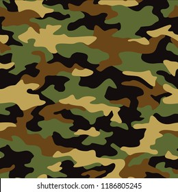 Seamless camouflage texture pattern. Abstract modern military camo ornament for army and hunting fabric print. Vector background.