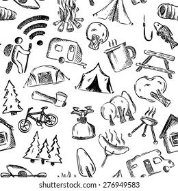 Seamless camping pattern. Hand-drawn background. Black and white vector illustration.