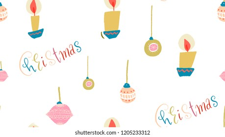 seamless candle pattern and Christmas balls and Christmas inscription in colored letters