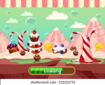 Seamless candyland vector cartoon landscape  for game design