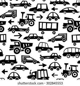 Seamless Car Pattern. Vector Monochrome Background