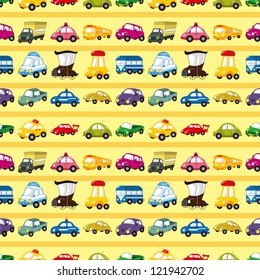 seamless car pattern,cartoon vector illustration