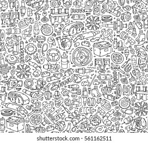 Seamless Car spare Parts pattern Tiles. Hand drawn contour details  isolated on the white background image.