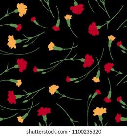 Seamless carnation flowers pattern on black background.