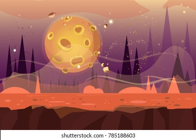 Seamless cartoon alien desert landscape. Vector unending background with ground, rocks, sand-dunes, planet and sky layers.