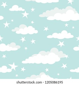 Seamless cartoon background with white clouds and shabby stars on turquoise sky. Overcast pattern. Vector illustration. Childish cute wallpaper.
