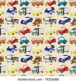 seamless cartoon car pattern