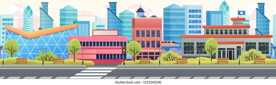 Seamless cartoon city street, parallax game background