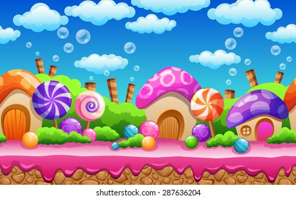 Seamless cartoon fairy tale landscape. Candy land illustration for game design.