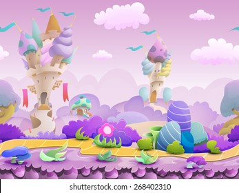 Seamless cartoon fairytale landscape, vector unending background with ground, castles, plants and sky layers.