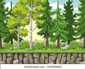 Seamless cartoon forest background. Hand draw with separate layers.