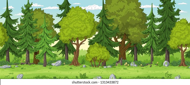 Seamless cartoon forest landscape. Hand draw with separate layers.