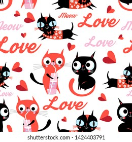 Seamless cartoon funny vector pattern of cats in love on a light background