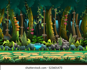 Seamless cartoon jungle landscape, vector unending background with separated layers for game.