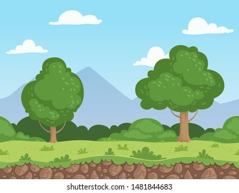 Seamless cartoon landscape. Parallax nature panorama ground with grass trees and rocks vector background