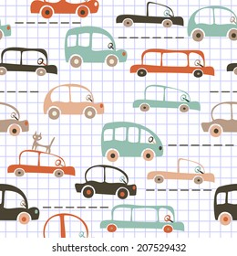 seamless cartoon map of cars and traffic on  notebook paper