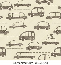 seamless cartoon map of cars and traffic on texture background
