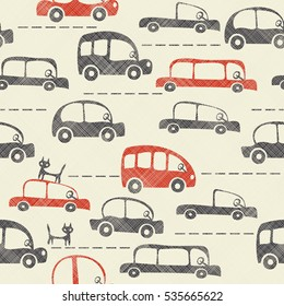 Seamless cartoon map of cars and traffic  in retro colors on texture background. Vector illustration. Retro pattern.