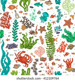 Seamless cartoon marine pattern. Bright summer vector illustration. Various shell, algae, fish, starfish, bottle with a letter, key on white background.