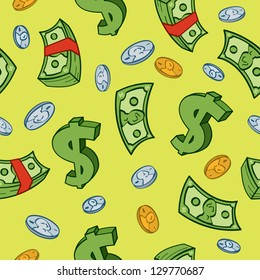 Seamless cartoon money and dollar sign pattern.