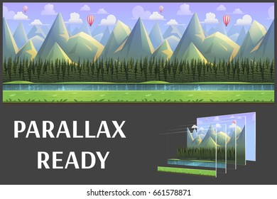 Seamless cartoon mountain natural landscape, vector unending background with separated layers for game.