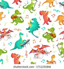 Seamless cartoon music dinosaurs pattern. Dino band, cute dinosaur playing music instruments and rockstar tyrannosaurus vector illustration. Dinosaur rock musician, musical playing guitar