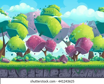 Seamless cartoon natural landscape with futuristic trees. Vector illustration for design, graphics, print, web, magazine, book, web games.